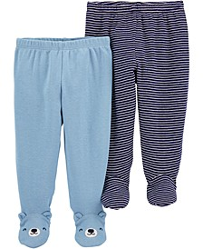 Baby Boys 2-Pair Footed Cotton Pants