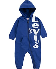 Baby Boys Hooded Logo-Print French Terry Coverall