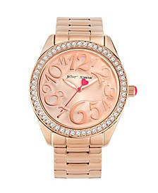 Women's Raised Numeral Dial Rose Gold-Tone Stainless Steel Bracelet Watch 40mm