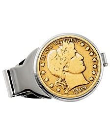 Gold-Layered Silver Barber Half Dollar Coin Money Clip