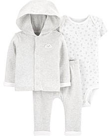 Baby Boys or Girls 3-Pc. Cotton Bodysuit, Cardigan & Pants Set