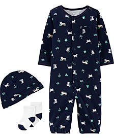Baby Boys 3-Pc. Jungle-Print Cotton Coverall, Hat & Socks Set
