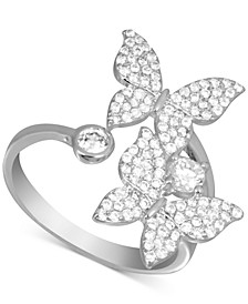 Cubic Zirconia Butterfly Bypass Ring in Fine Silver-Plate