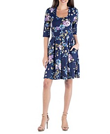 Floral Print Fit and Flare Mini Dress