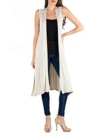 Sleeveless Long Cardigan Vest with Side Slit