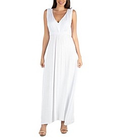 V-Neck Sleeveless Maxi Dress with Belt