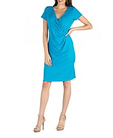 Faux Wrap over Dress with Cap Sleeves