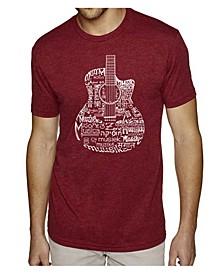 Men's Premium Word Art T-shirt - Languages Guitar