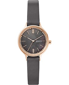 Women's Anita Gray Leather Strap Watch 30mm