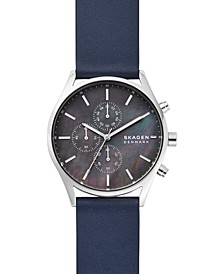 Men's Chronograph Holst Blue Leather Strap Watch 42mm