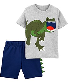 Baby Boys 2-Pc. Cotton Dino Pocket T-Shirt & Shorts Set