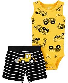 Baby Boys 2-Pc. Construction Bodysuit & Stripe Shorts Set