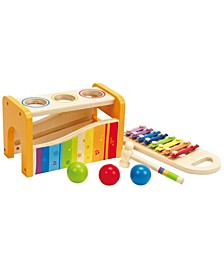 Kids Wooden Musical Instrument Rainbow Pound and Tap Bench with Xylophone