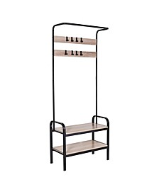 Entryway Organizer with Hooks and Shoe Storage