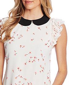 CeCe Printed Flutter-Sleeve Top