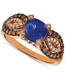 Blueberry Tanzanite (1-3/8 ct. t.w.) & Diamond (3/8 ct. t.w.) Ring in 14k Rose Gold