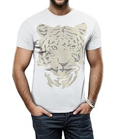Men's Tiger Head Graphic Printed Rhinestone Studded T-Shirt