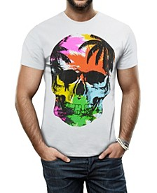 Men's Colorful Tropical Skull Graphic Printed Rhinestone Studded T-Shirt