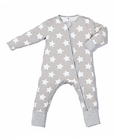 Baby Boys and Girls Bamboo White Star 2 Way Zippy Coverall