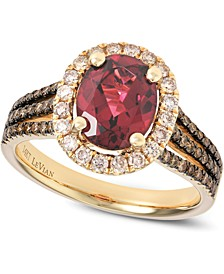 Raspberry Rhodolite® (2 ct. t.w.) and Diamond (5/8 ct. t.w.) Ring in 14k Rose Gold