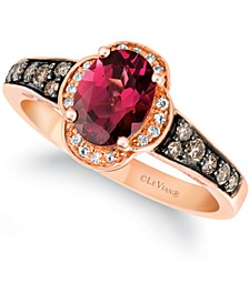 Raspberry Rhodolite (1-3/8 ct. t.w.) & Diamond (1/3 ct. t.w.) Ring in 14k Rose Gold