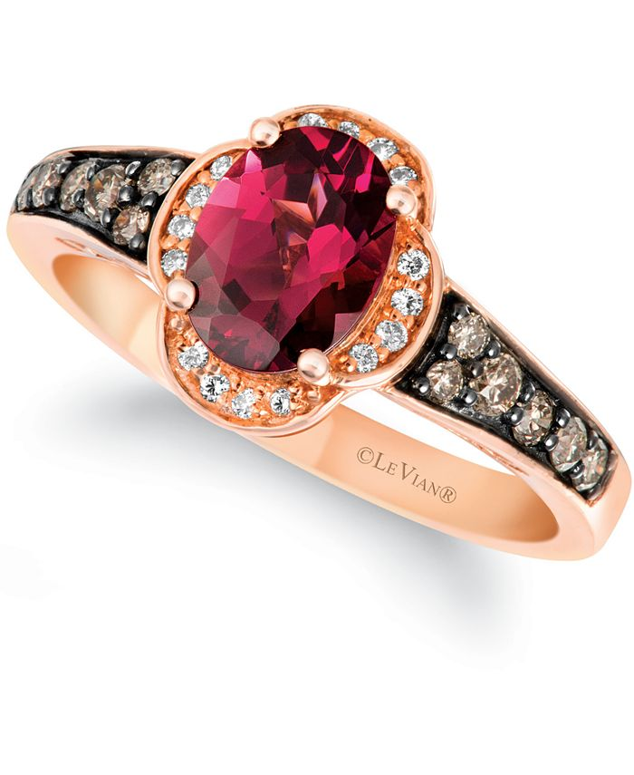 Le Vian - Raspberry Rhodolite (1-3/8 ct. t.w.) & Diamond (1/3 ct. t.w.) Ring in 14k Rose Gold