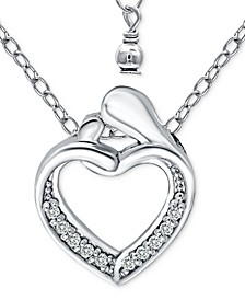 "Cubic Zirconia Abstract ""Mom & Child"" Heart Pendant Necklace in Sterling Silver, 16"" + 2"" extender, Created for Macy's"