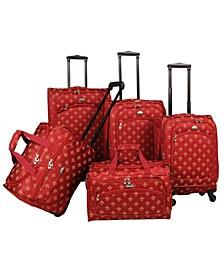 Fleur De Lis 5 Piece Spinner Luggage Set