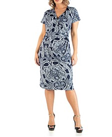 Women's Plus Size Wrap over Style Paisley Midi Dress