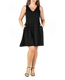 Women's Plus Size Sleeveless Fit and Flare Pocket Dress