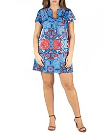 Women's Plus Size Square Neck Short Sleeve Mini Dress