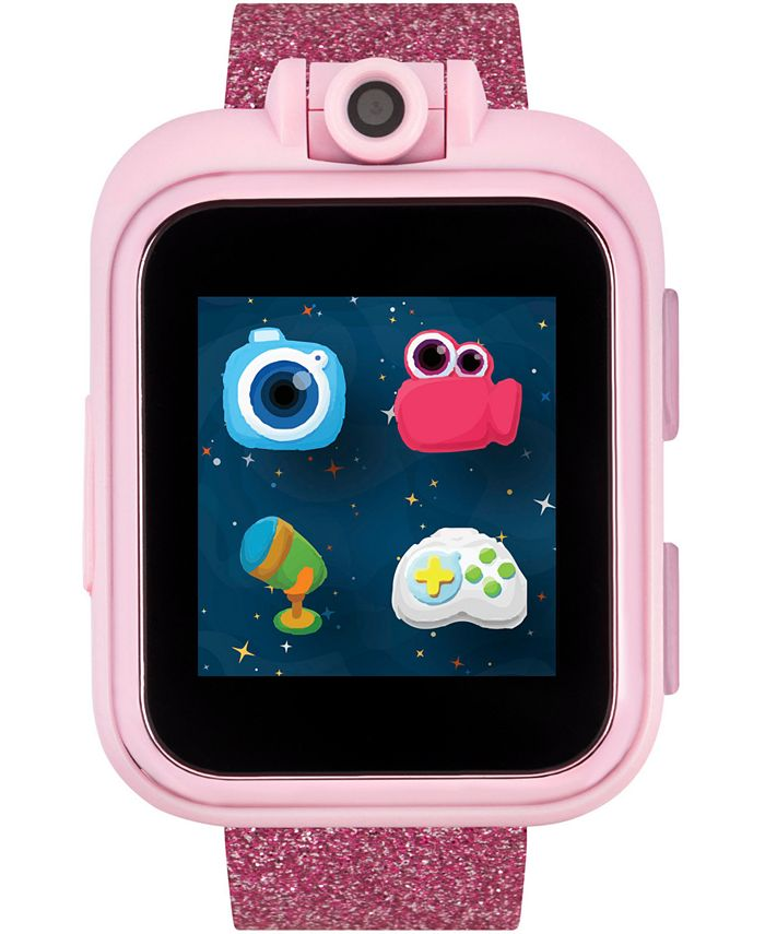 iTouch - Kid's PlayZoom Pink Glitter Polyurethane Strap Touchscreen Smart Watch 52mm x 42mm
