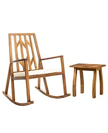 Nuna Outdoor Rocking Chair with Cushion and Accent Table