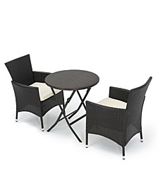 Malaga Outdoor 3 Piece Bistro Set with Cushions