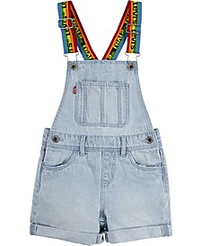 Little Girls Rainbow Logo Cotton Denim Shortalls