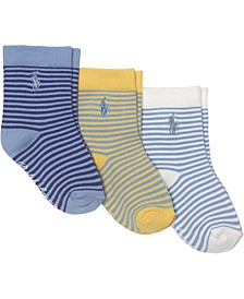 Ralph Lauren 3-Pk. St. James Striped Crew Socks With Grippers, Baby Boys (0-24 months)