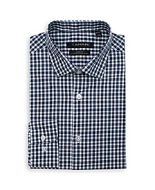 Men's Slim Fit Non-Iron, Moisture Wicking Dress Shirt - Micro Check Print