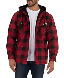 Men's Yarn Dye Twill Polar Fleece Flannel Bonded Overshirt Jacket with Hoodie