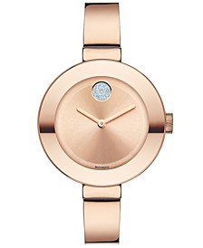 Women's Swiss Bold Rose Gold Ion-Plated Stainless Steel Bangle Bracelet Watch 34mm 3600202