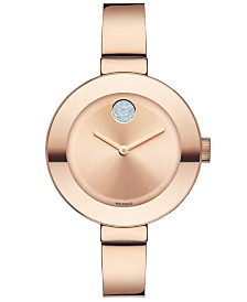 Movado Women's Swiss Bold Rose Gold Ion-Plated Stainless Steel Bangle Bracelet Watch 34mm 3600202