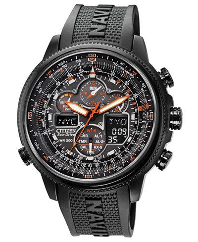 Citizen Men's Eco-Drive Navihawk A-T Black Polyurethane Strap Watch 48mm JY8035-04E