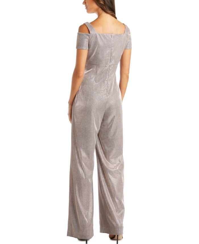 R & M Richards Petite Metallic Jumpsuit  & Reviews - Dresses - Petites - Macy's