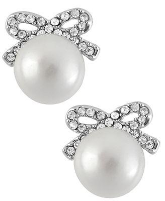 Betsey Johnson Silver-Tone Crystal Bow Imitation Pearl Stud Earrings