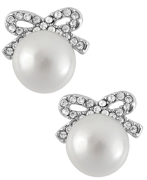 Betsey Johnson Silver-Tone Crystal Bow Imitation Pearl Stud Earrings