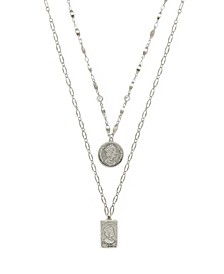 Medallions of Mine Layered Rhodium Plated Coin Women's Necklace Set