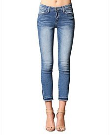 Mid Rise Let Out Hem Side Slit Skinny Ankle Jeans