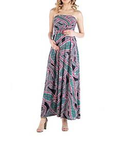 Multicolor Paisley Sleeveless Empire Waist Maternity Maxi Dress
