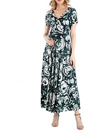 Circlet Print Empire Waist Maternity Maxi Dress