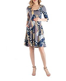 Fit and Flare Multiprint Maternity Dress