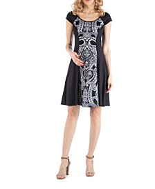 Paisley Print A Line Maternity Dress
